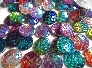 50 Acrylic Cabochons Dragon/Mermaid Scale pattern
